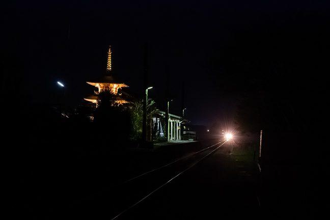 粟生方面行の普通列車がレールに煌めきを落としてやってきた