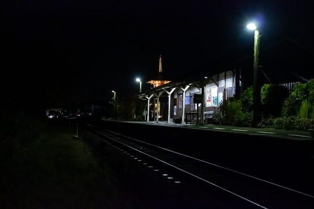 苔生した電柱に歴史を感じる法華口駅の夜