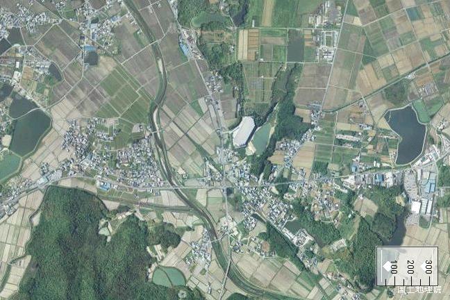 空撮画像:法華口駅周辺