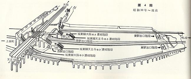 引用図:鶴橋駅変遷図第4期(昭和30年~現在)「50年のあゆみ(近畿日本鉄道・1960年)」