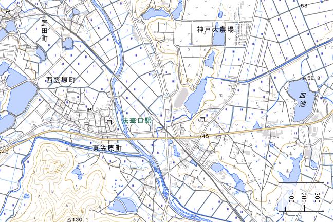 地形図:法華口駅周辺