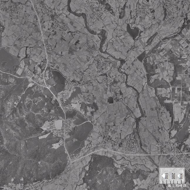旧版空撮画像:法華口駅周辺(1961/06/06撮影)