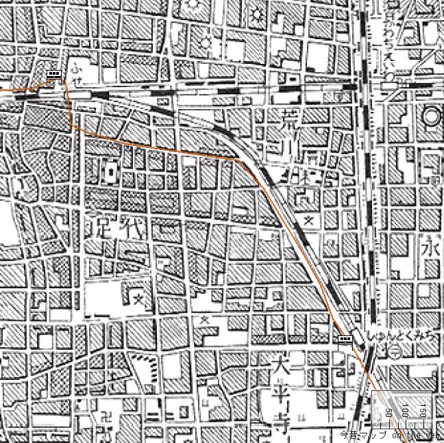 旧版地形図:布施駅周辺(1957/08/30発行)