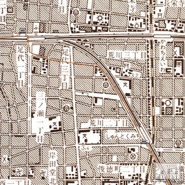 旧版地形図:布施駅周辺(1988/07/30発行)