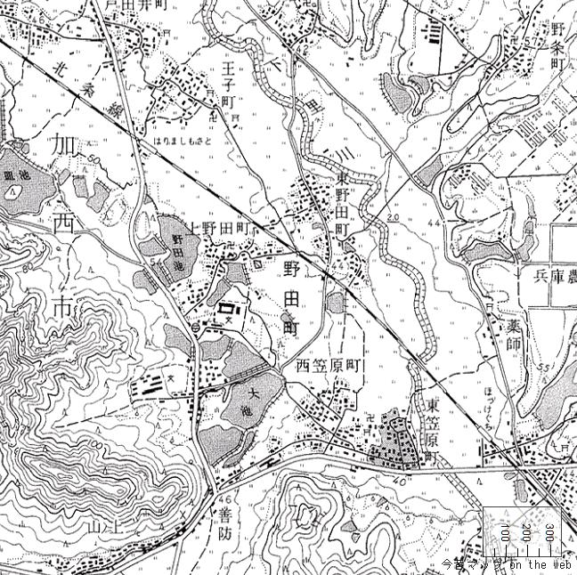旧版地形図:法華口駅周辺(1969/08/30発行)
