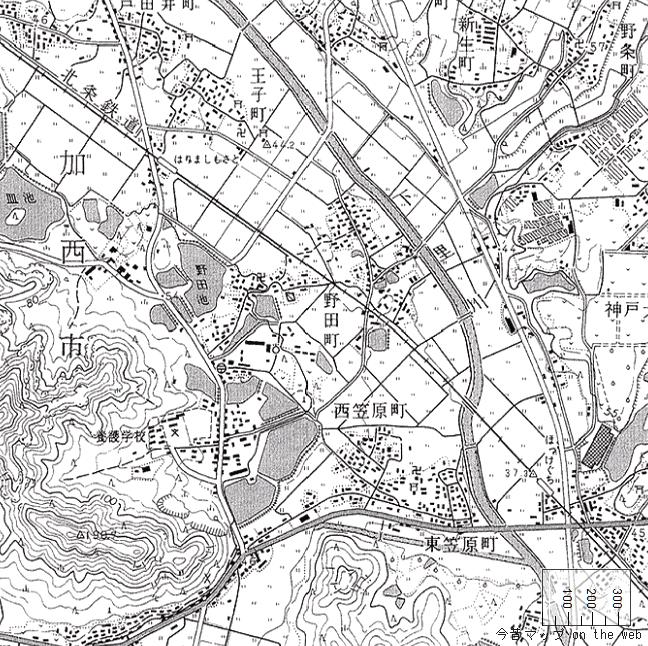 旧版地形図:法華口駅周辺(2000/04/01発行)