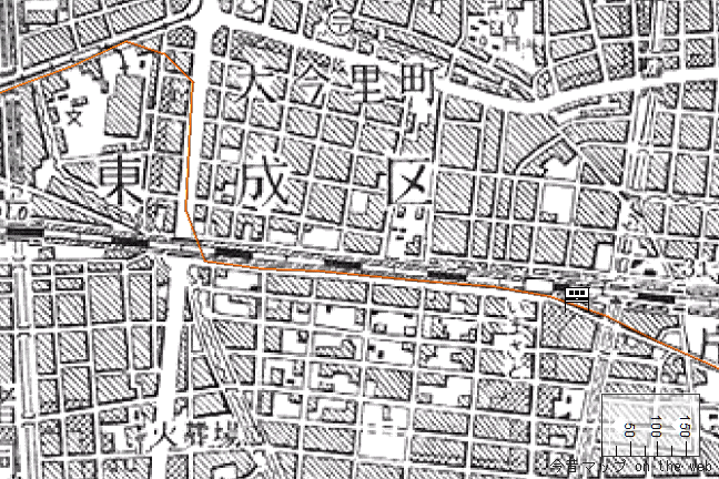 旧版地形図:今里駅周辺(1957/08/30発行)