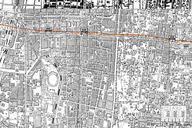 旧版地形図:難波~上本町間(1957/08/30発行)