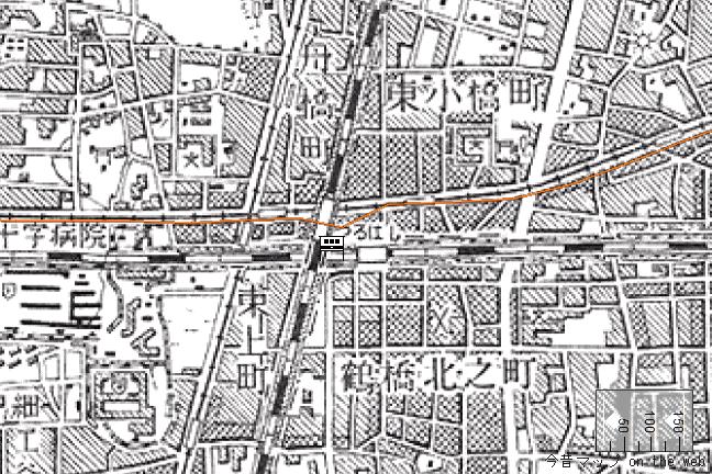 旧版地形図:鶴橋駅周辺(1957/08/30発行)