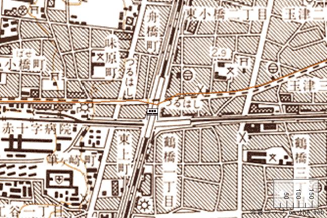 旧版地形図:鶴橋駅周辺(1988/07/30発行)